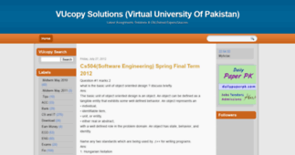 cs504 midterm solved paper Virtual university old papers, assignments, assignment solutions, mid term papers, final term papers, paper pattern, study material.