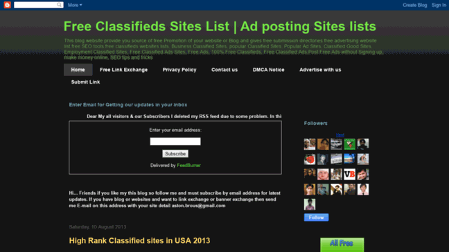 Top Classifieds and ads posting Websites list  Updates by