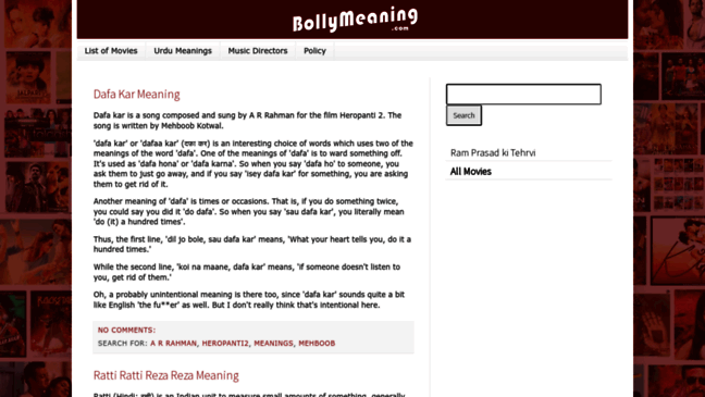 Bollymeaning Hindi Lyrics Meaning English Trans Updates By Bollymeaning Com