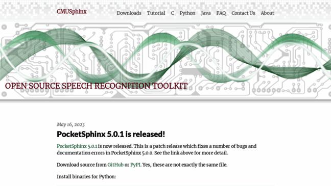 CMUSphinx Open Source Speech Recognition  Updates by cmusphinx