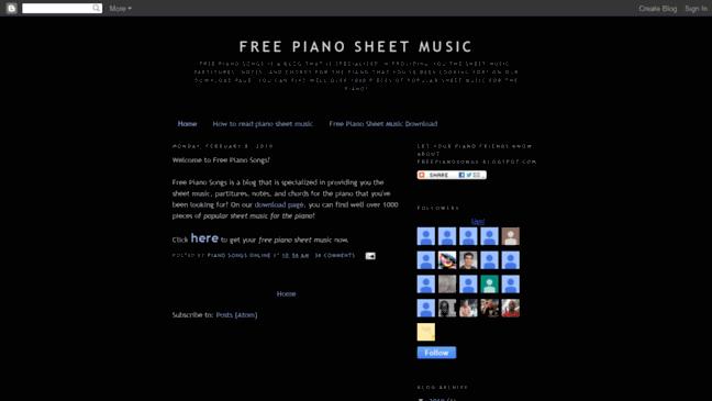 Free Piano Sheet Music  Updates by freepianosongs blogs