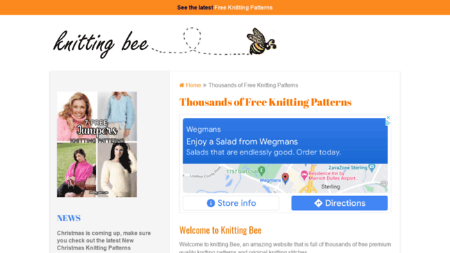 Thousands Of Free Knitting Patterns Knitting Bee Updates By