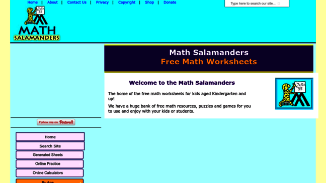 math worksheet : math worksheets printable from the math salamander updates by  : Salamander Math Worksheets