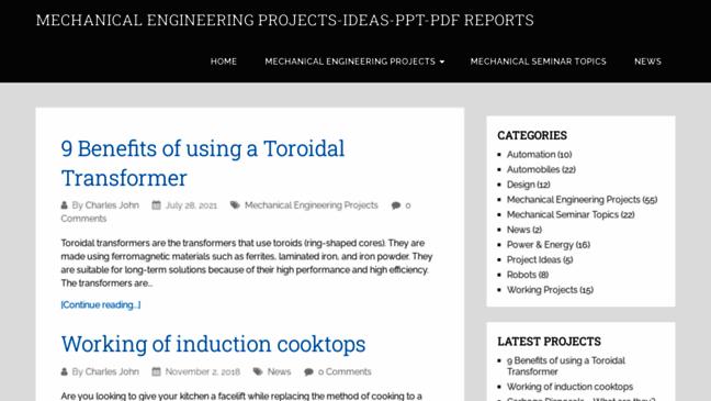 Mechanical Engineering Projects Ideas Seminars Updates By Mechanicalengineerin