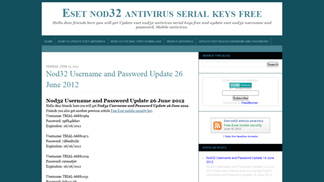 eset nod32 password and username trial