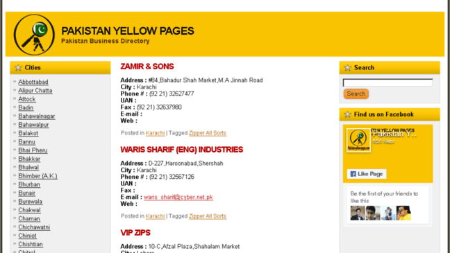 Pakistan Yellow Pages - Pakistan Business Director